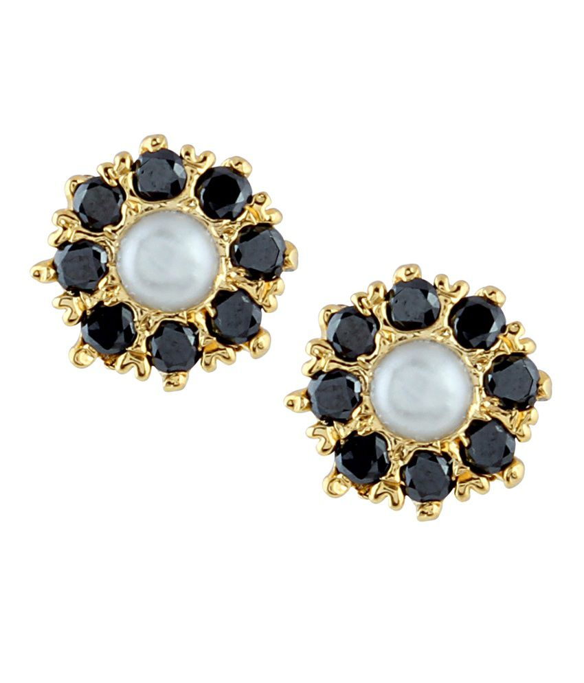 Archi Collection Black Colour Spark Alloy Stud Earrings