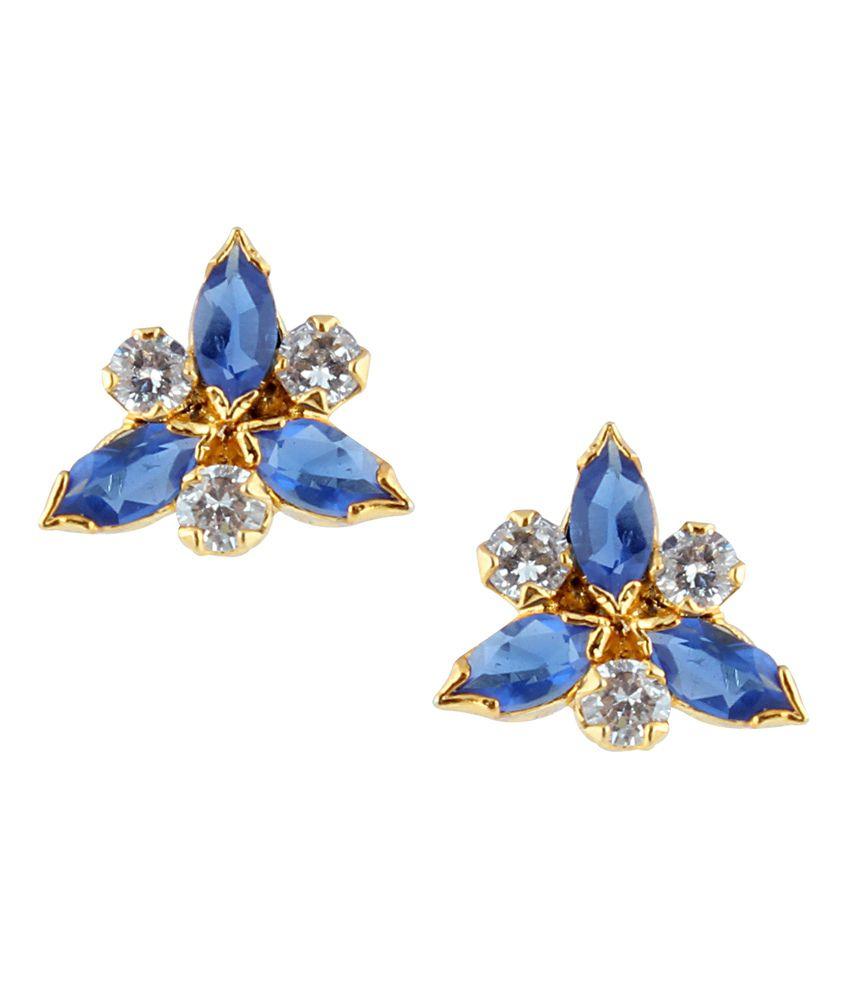 Archi Collection Blue Colour Spark Alloy Stud Earrings