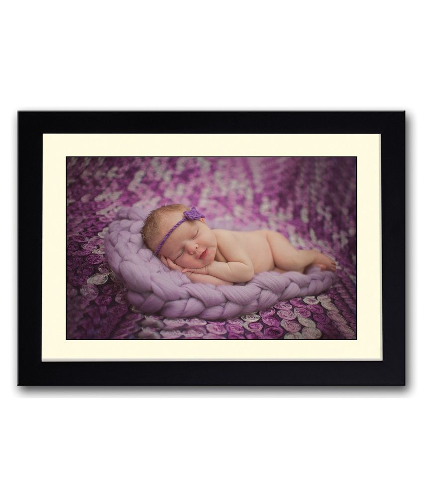Artifa Matte Adorable Baby Sleeping On Purple Painting With Metal Frame