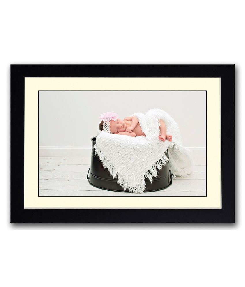 Artifa Matte Baby Sleeping On Black Bucket Painting With Wood Frame