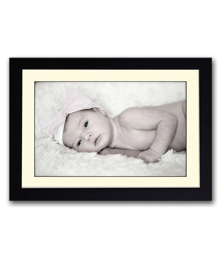 Artifa Matte Baby With Hat Looking B&w Painting With Wood Frame