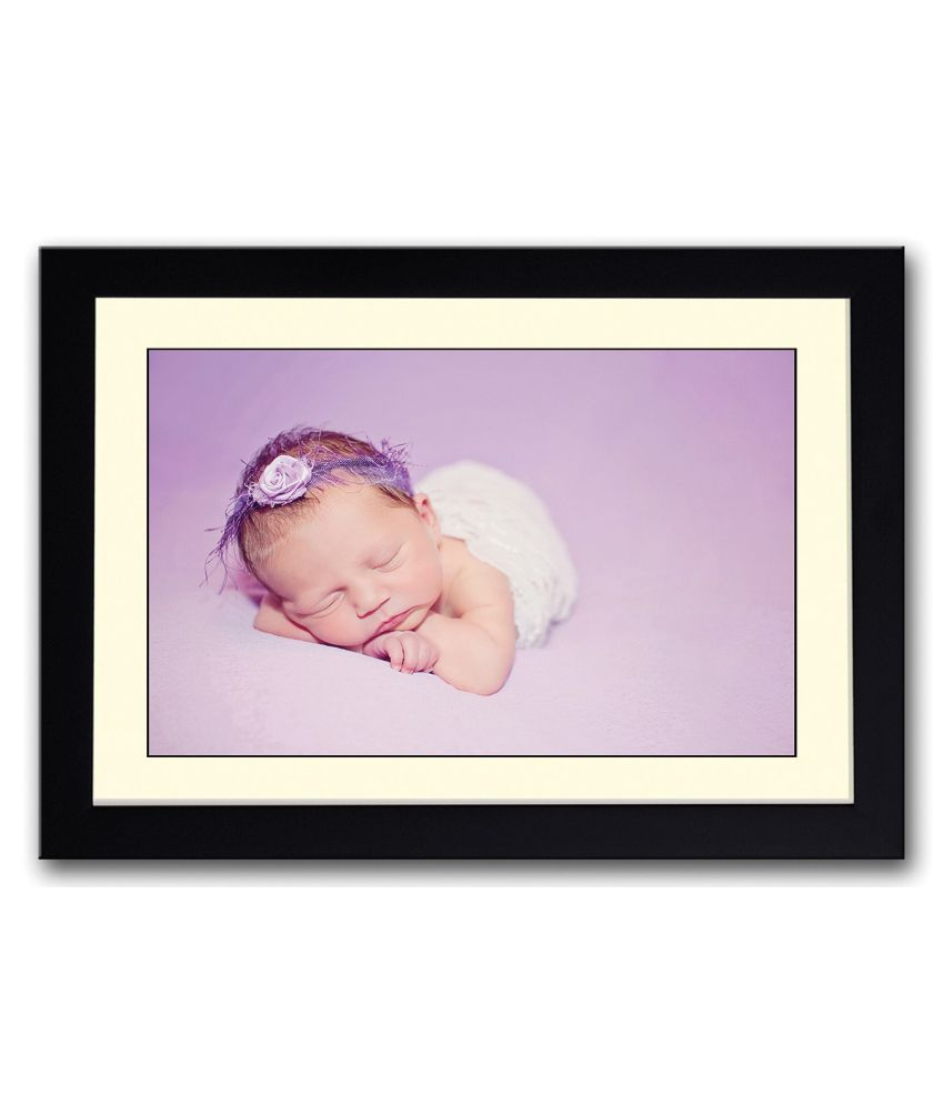 Artifa Matte Baby With Purple Hair Band Painting With Metal Frame