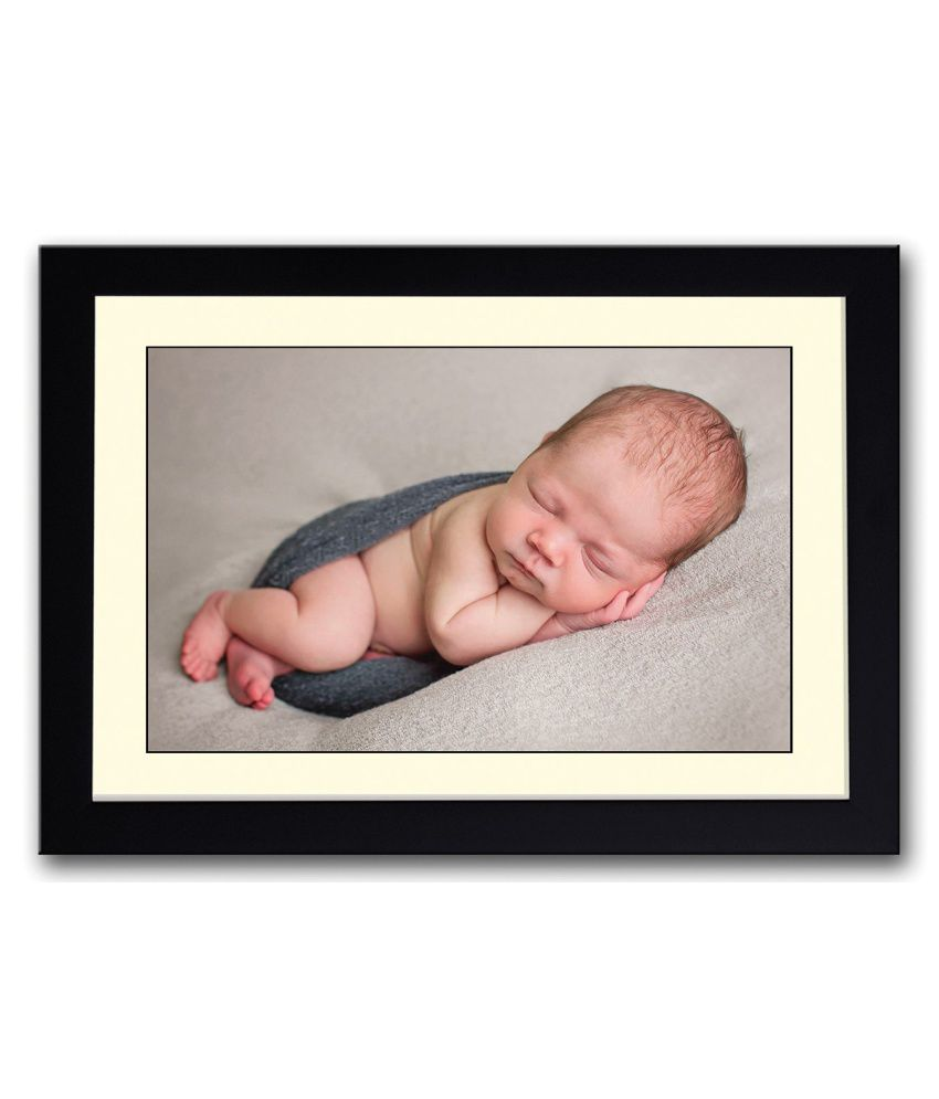 Artifa Matte Cute Sleeping Baby Image Painting With Metal Frame