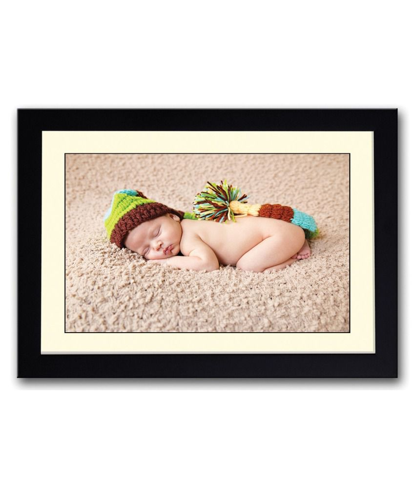 Artifa Matte Cute Sleeping With Hat Baby Image Painting With Wood Frame