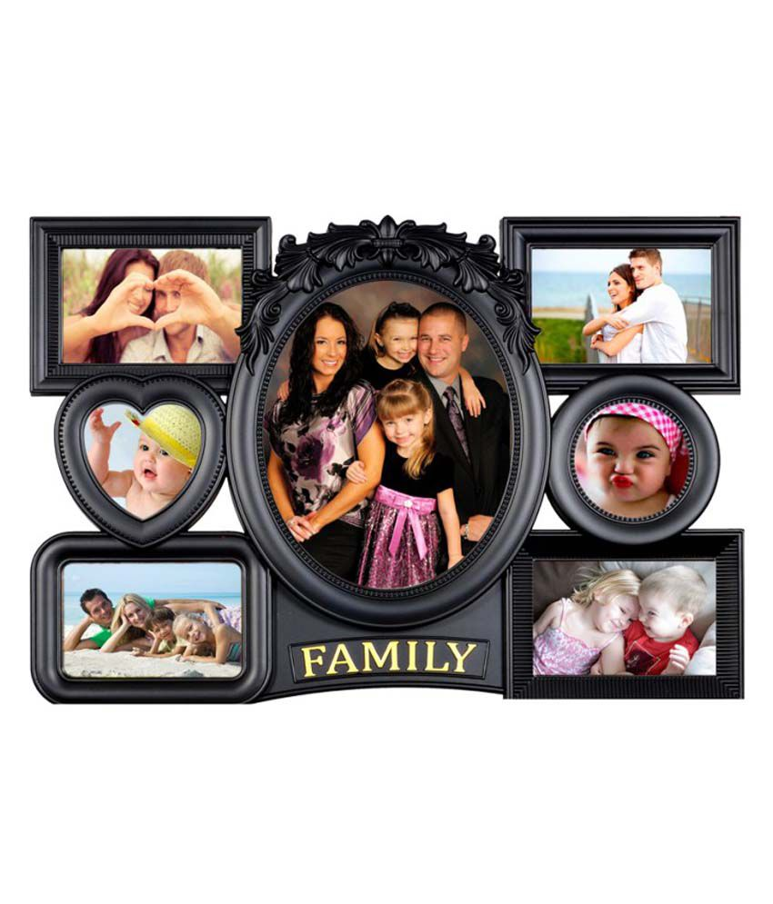 deep royal family 7 in 1 photo collage frame black