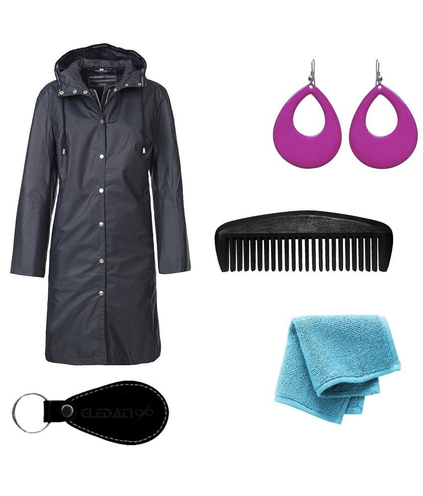 Gledati Black Polyester Combo Of Raincoat, Towel Handkerchief, Comb & Dangler Earring