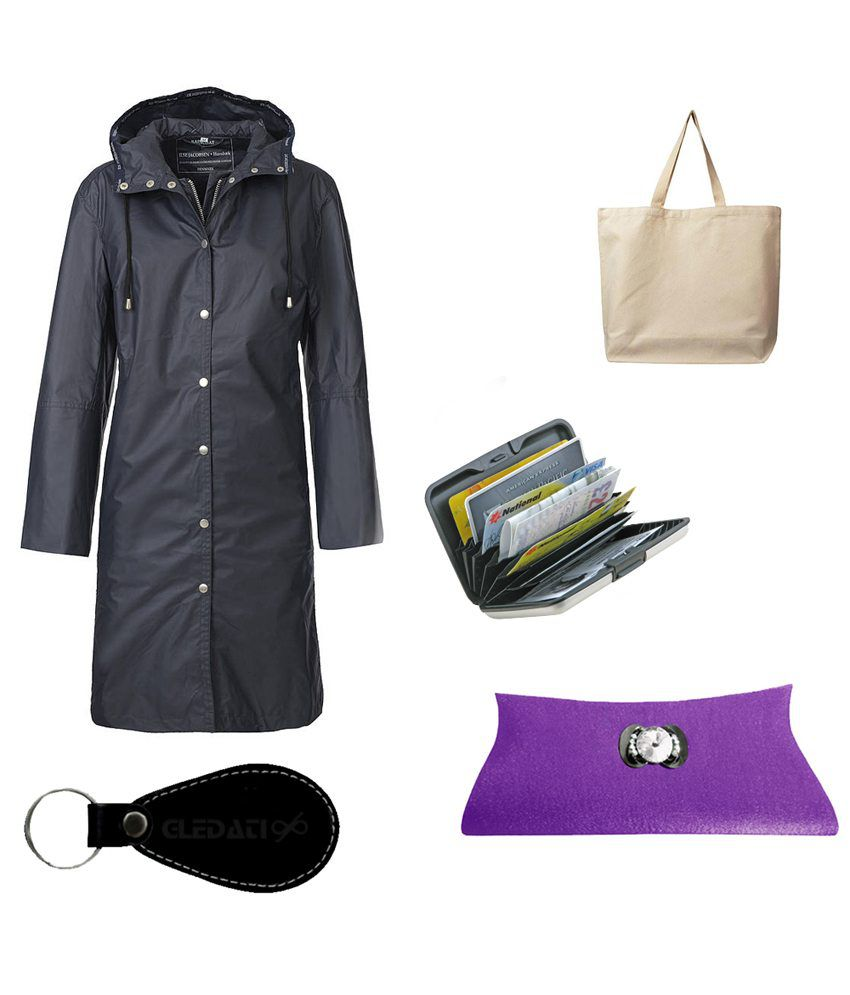 Gledati Black Polyester Combo Of Raincoat, Alumina Wallet & Ladies Hand Bag
