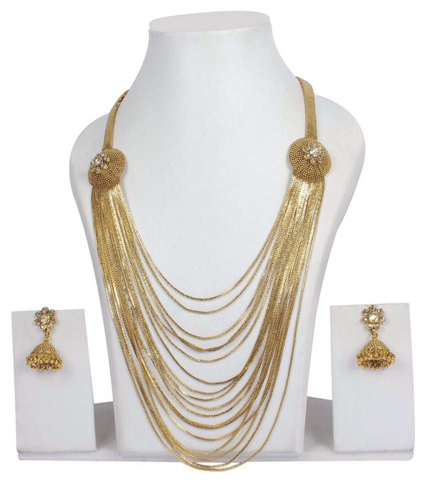 Much More Indian Traditional Design Gold Plated Multi Layer Long Polki Necklace Earring Set