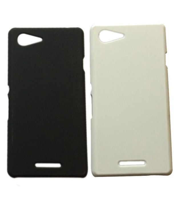 Winsome Deal Combo of Black and White Plastic Back Covers for Sony Xperia E3 (Set of 2)