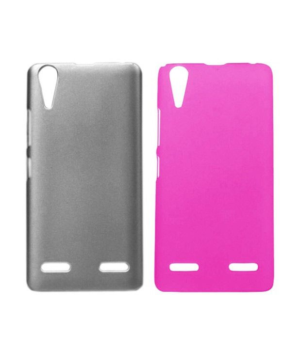 Winsome Deal Combo of Grey and Pink Plastic Back Covers for Lenovo K3 A6000 (Pack of 2)