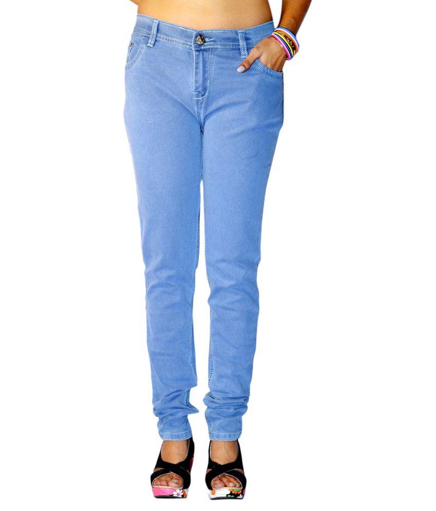 Buy Ansh Fashion Wear Black & Light Blue Women Lycra Denim Jeans ...