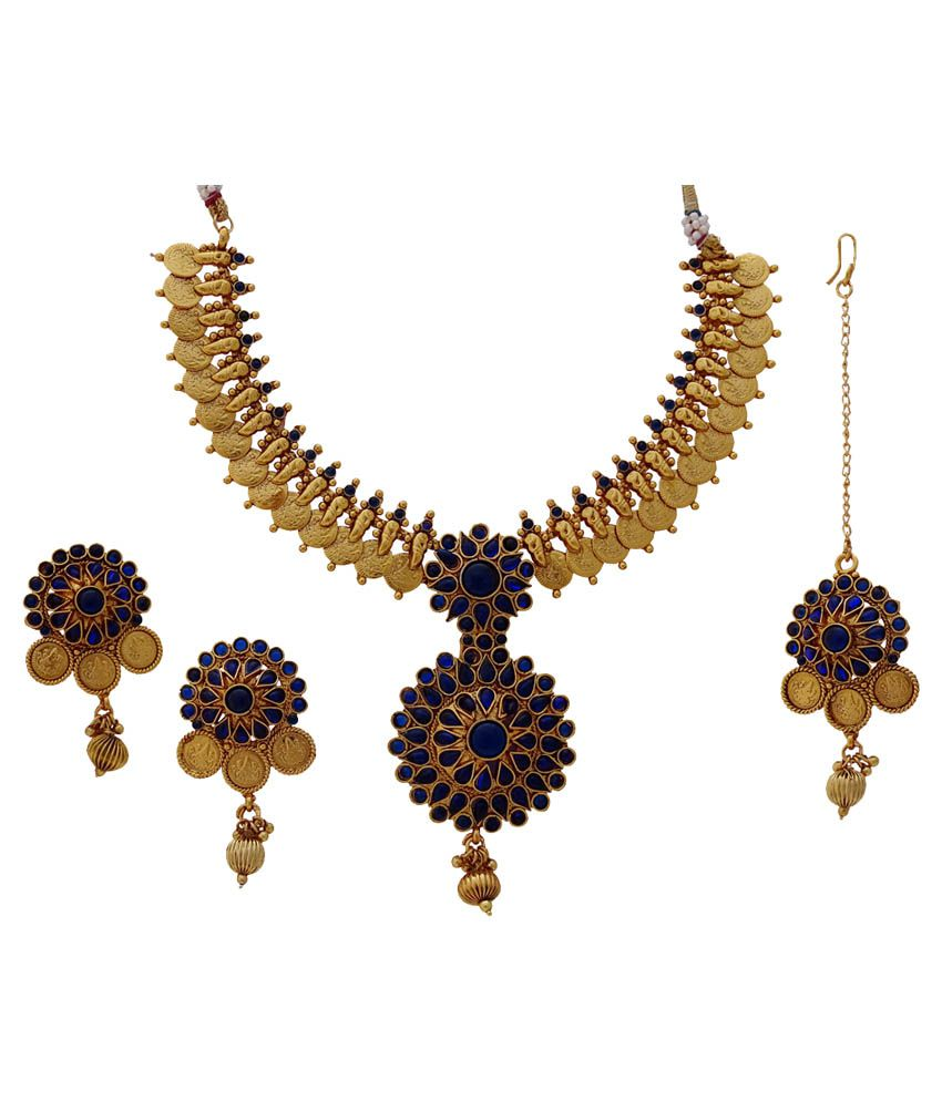 Gems N PearlsBlue Beaded Floral Coin Temple Antique Necklace Set