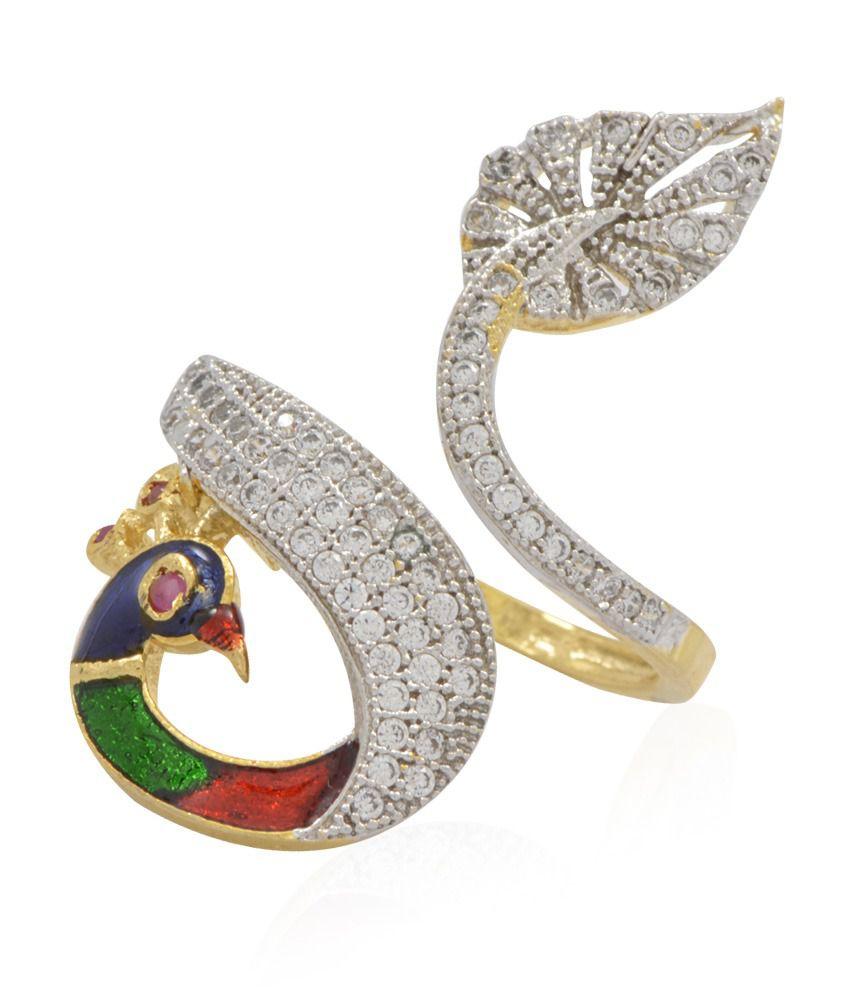 Jewels Galaxy Meenakari Work Peacock Mayur American Diamond Ring ...