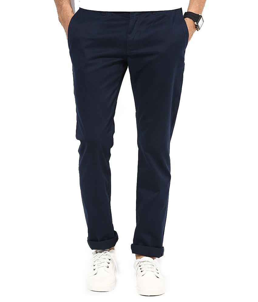 Ad & Av Blue Cotton Lycra Chinos