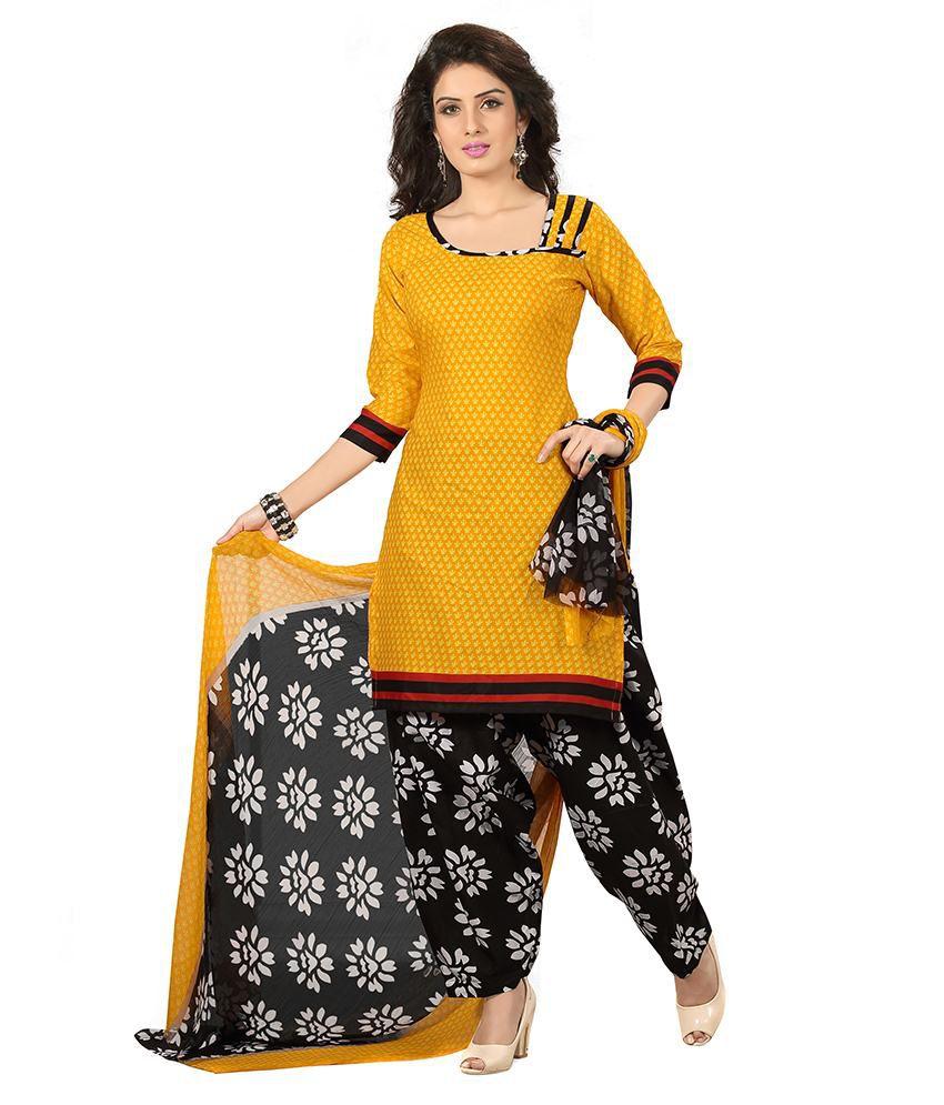 Banorani Yellow And Grey Cotton Dress Material Buy