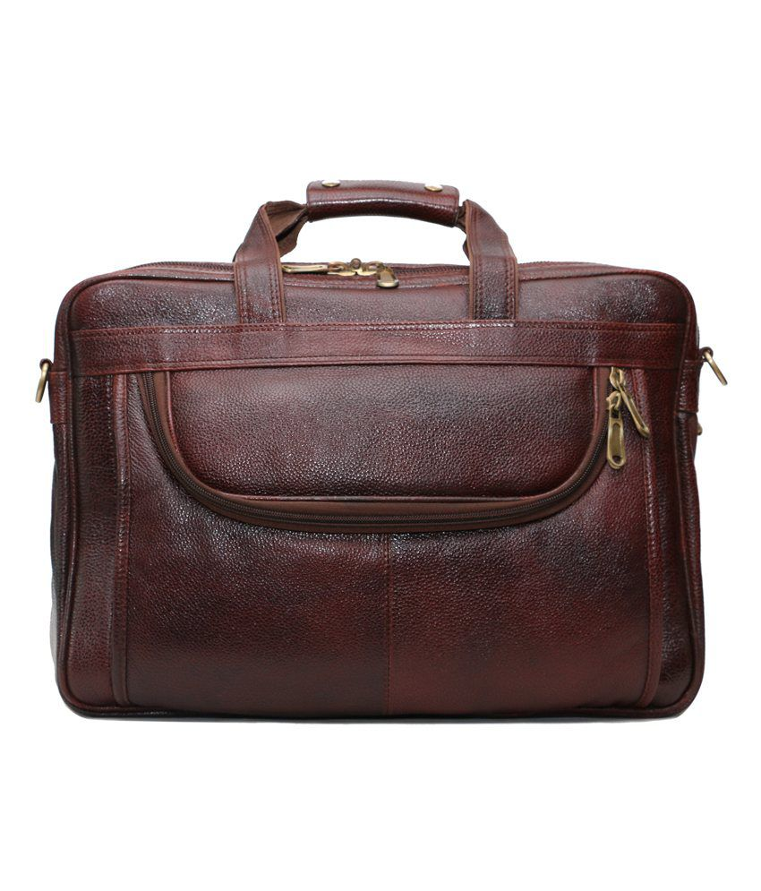 C Comfort Brown Leather Laptop Bag