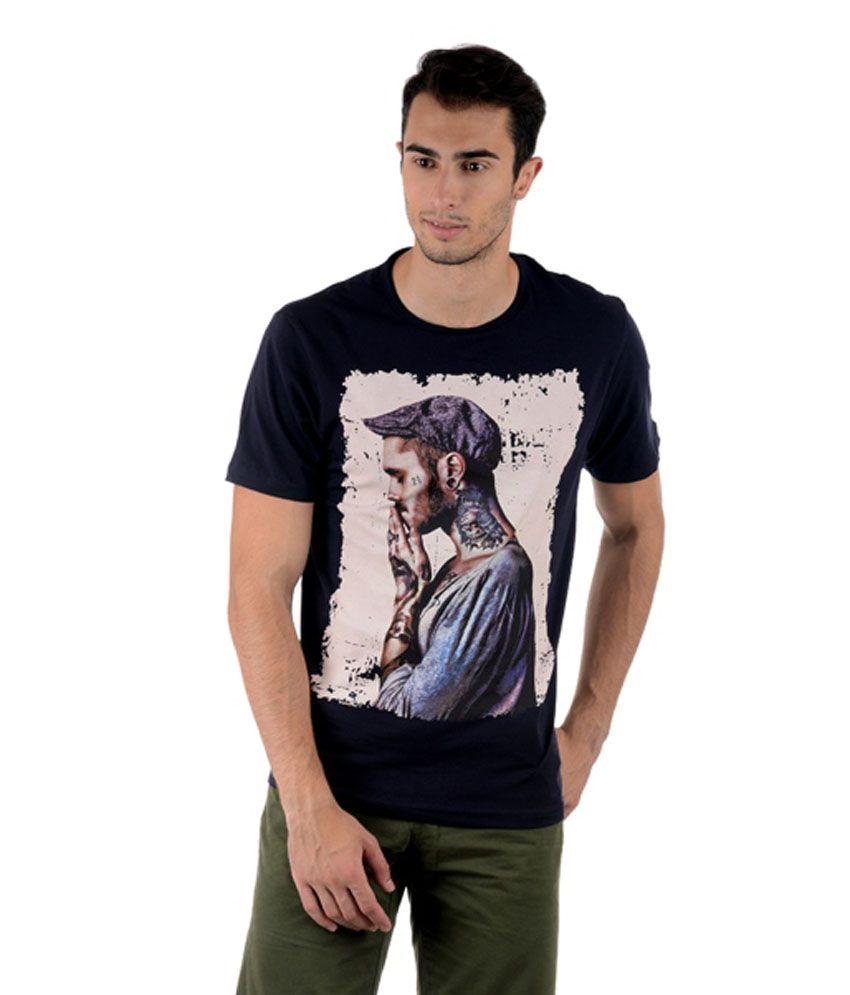 Keywest Printed Denim Blue Cotton T-Shirt