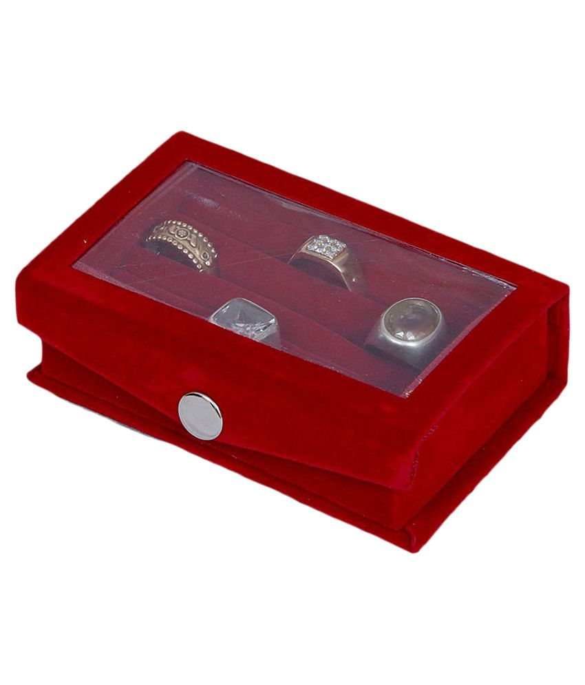 Kuber Industries Maroon Transparent Cover Full Velvet Ring Box
