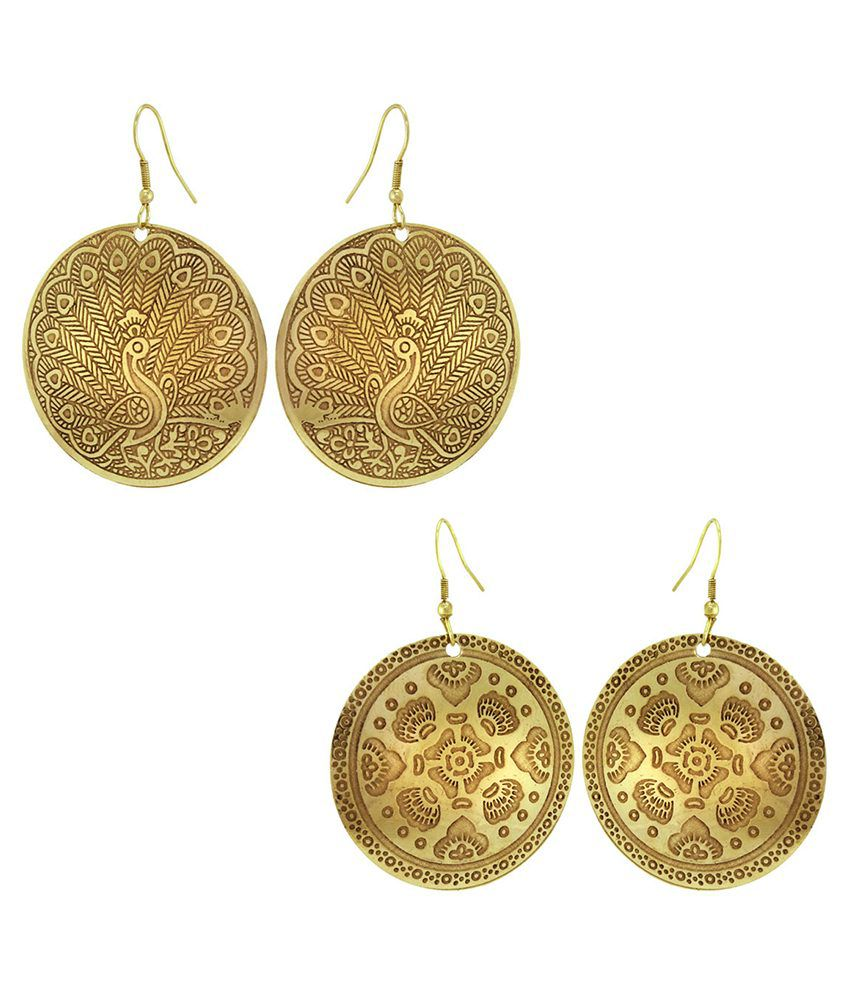 925 Silver Indian Brass Metallic Earring Combo Set For Women(Set of 2)