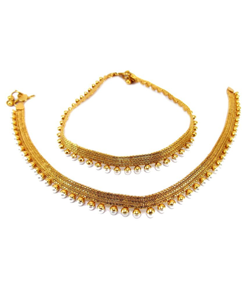 9blings Golden Enamel Pearl Pair Of Anklets