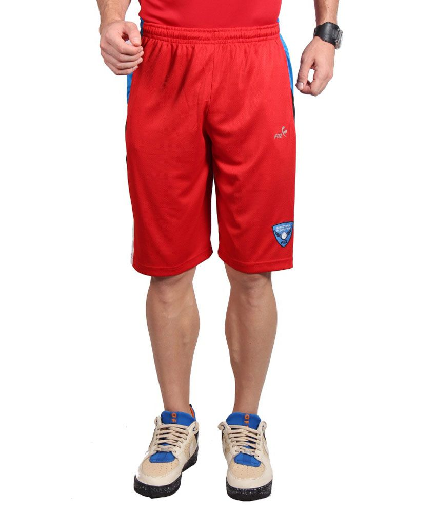 Fitz Red Polyester Shorts