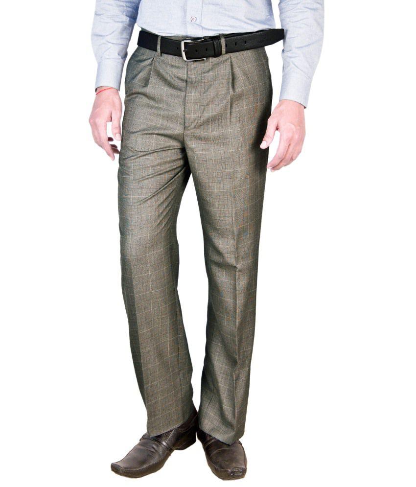 Integration Brown Regular Fit Formal Pleated Trouser