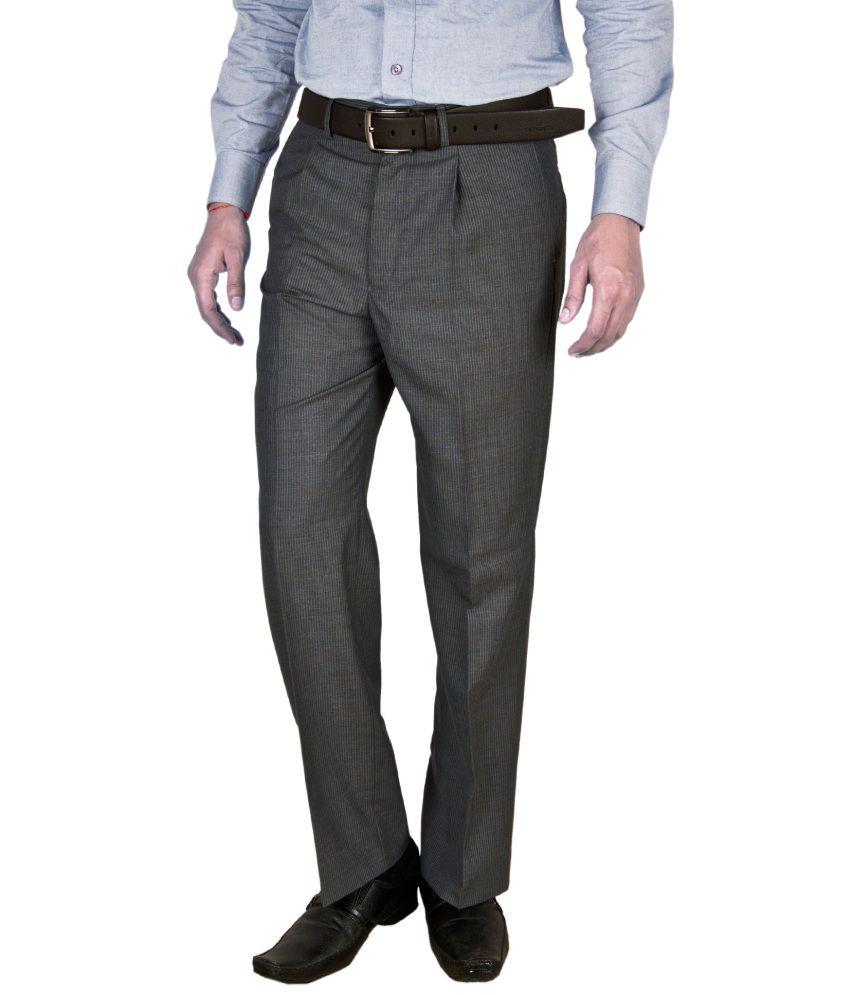 Integration Grey Regular Fit Formal Pleated Trouser