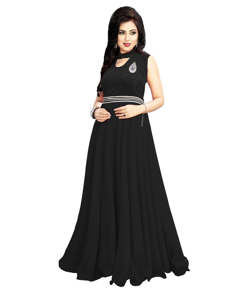 Om Faison Black Cotton Gowns