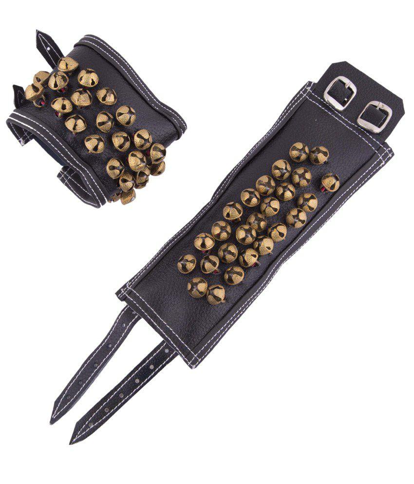 Vijaya Stores Brass Anklet 3 Line Bell Leather Base Salangai - Brown