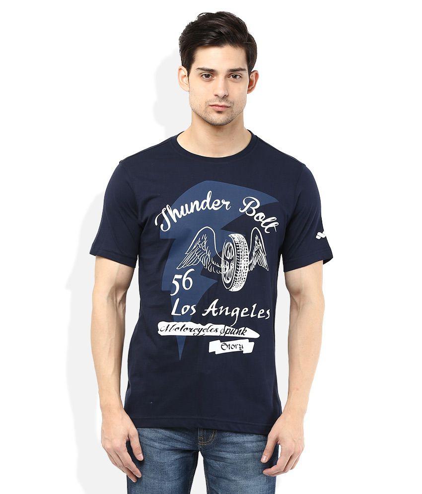 Spunk Navy Round Neck Printed T-Shirt