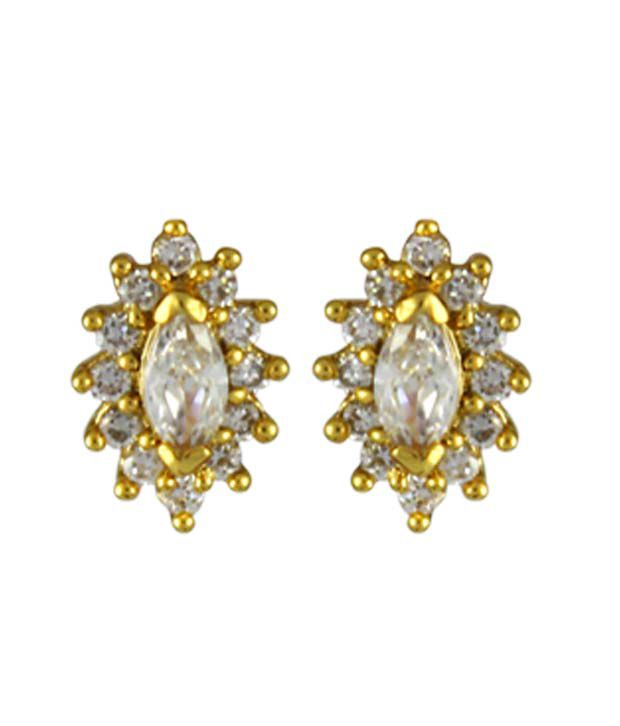 Catchme Golden Alloy Stud Earrings
