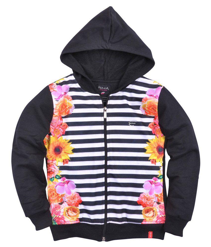 Femea Black Sweatshirts For Girls