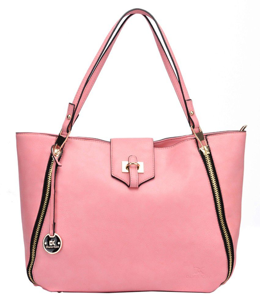 Diana Korr Pink P.U. Shoulder Bag