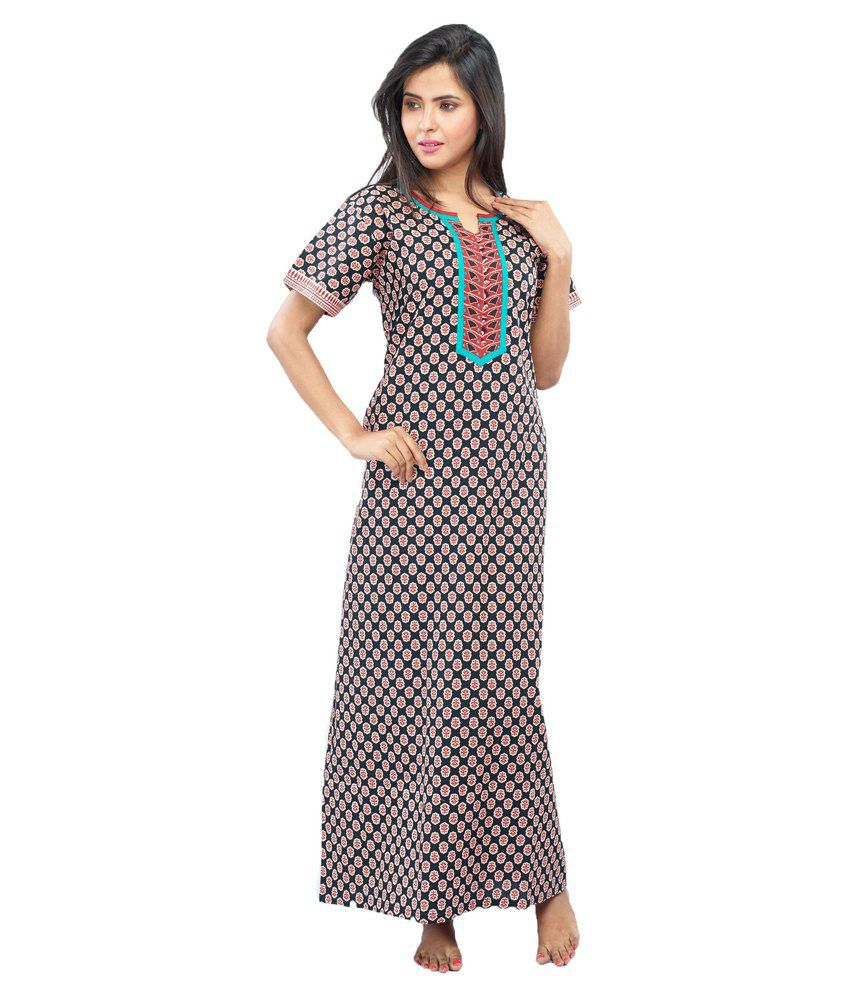 d6a932a15d Buy Juliet Black Cotton Nighty Online at Best Prices in India - Snapdeal
