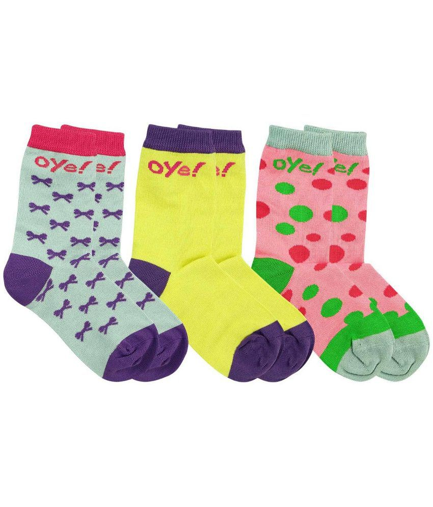 2976276504 Oye Pack of 3 Blue, Pink & Yellow Cotton Blend Socks: Buy Online at Low  Price in India - Snapdeal