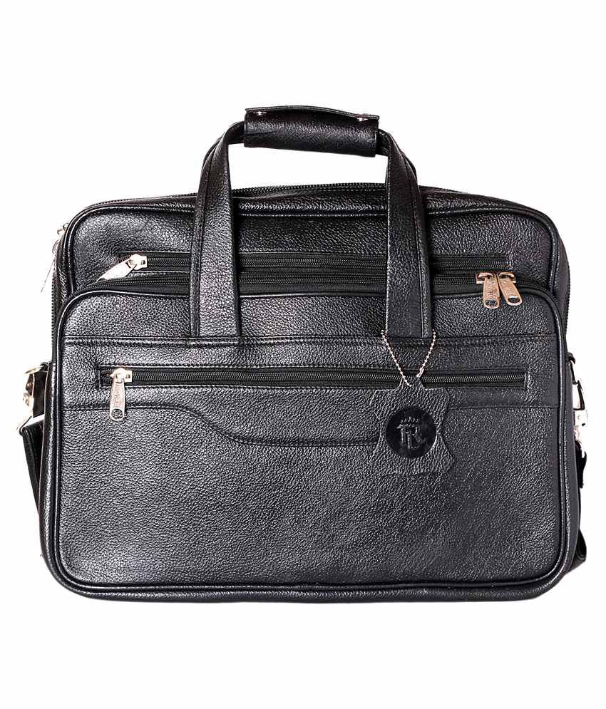 Rle Black Leather Laptop Bag