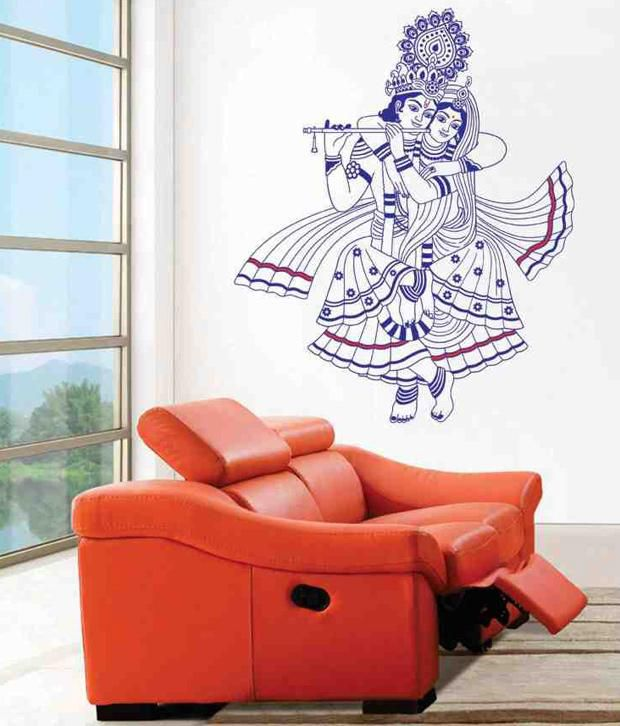 look after 8 wall sticker radhe krishna ji in blue coulour - buy
