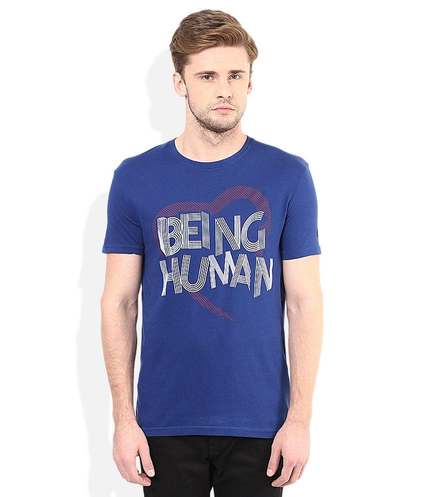 Being Human Blue Round Neck T-Shirt
