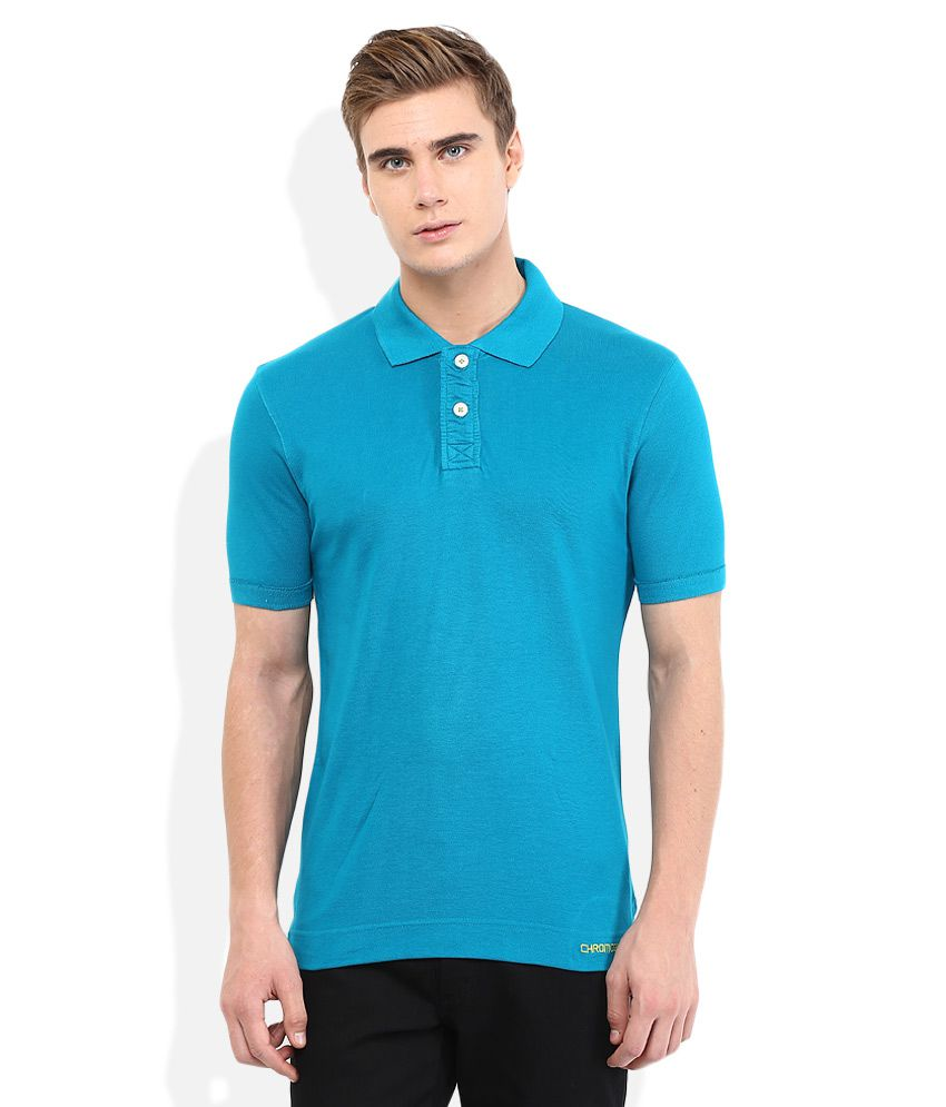 Chromozome Blue Solid Polo T Shirt