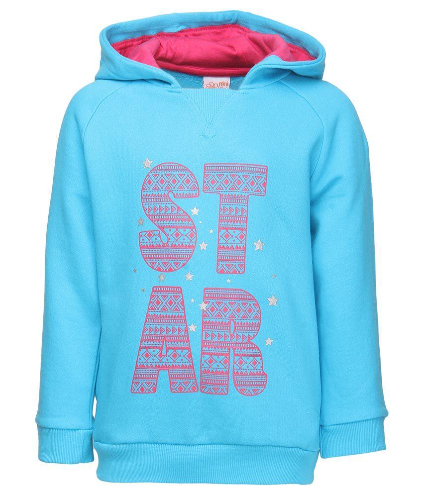 FS MiniKlub Blue Printed Hooded Sweatshirt