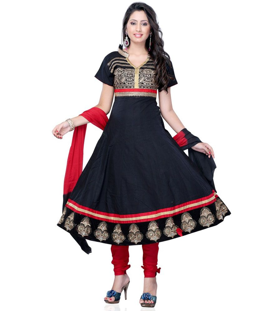 Jtinternational Black Cotton Semi Stitched Dress Material