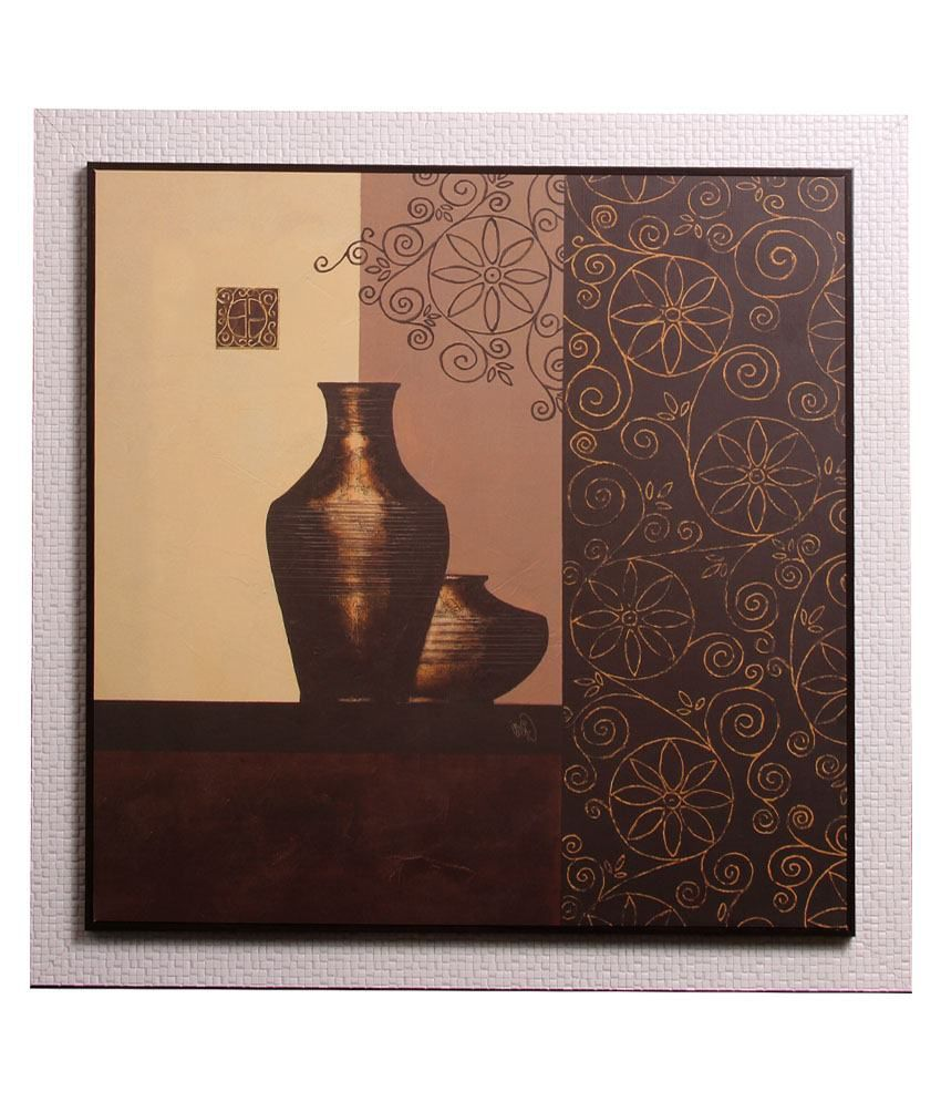 Srikara Frames Brown & Beige Acrylic Bottle Canvas Painting