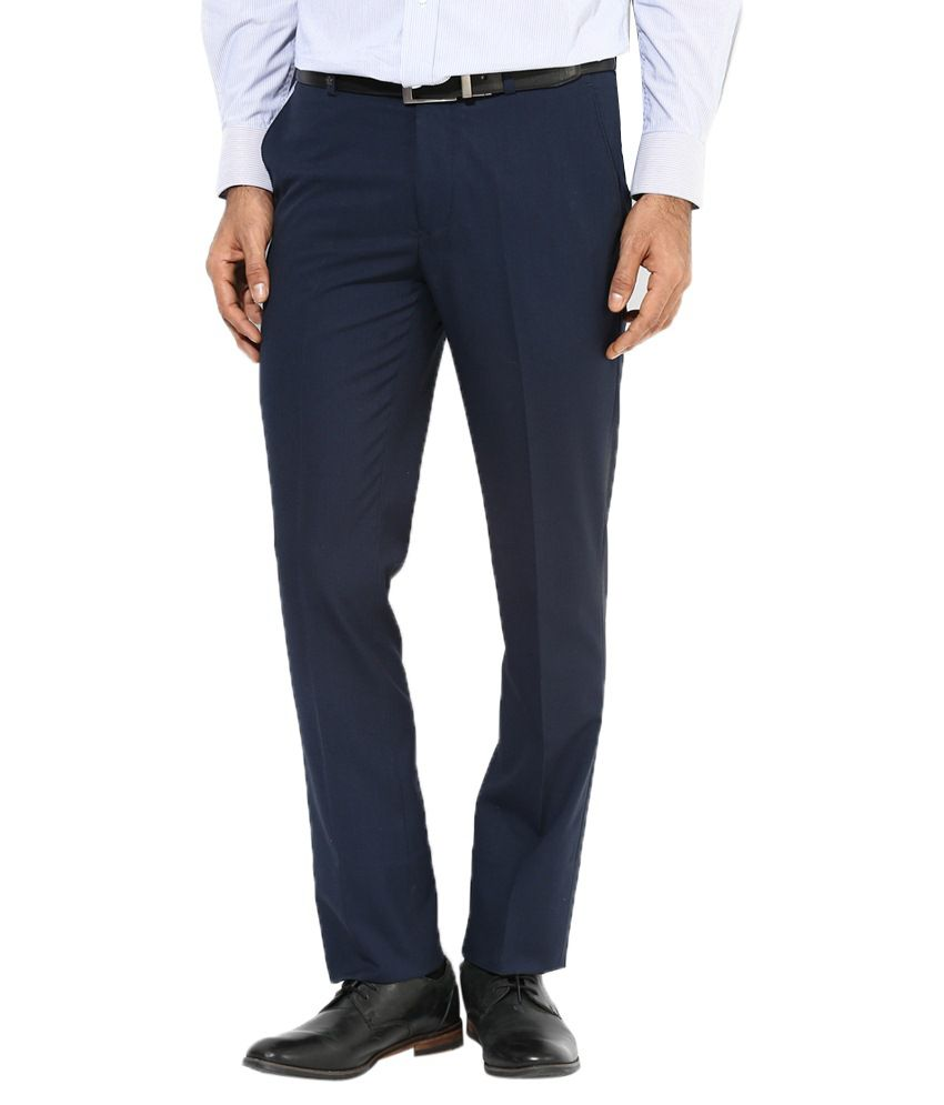 AD & AV Navy Regular Fit Formal Flat Trousers