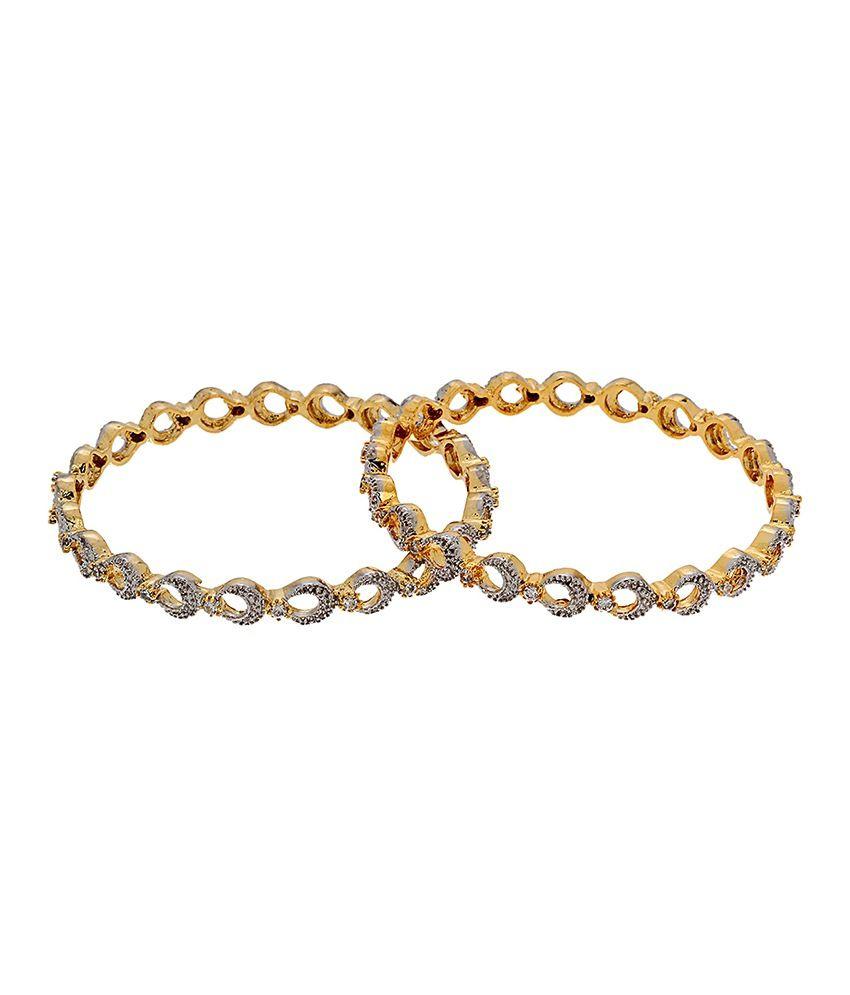 Jwells & More Gorgeous Pack Of 2 Golden Kadas For Women