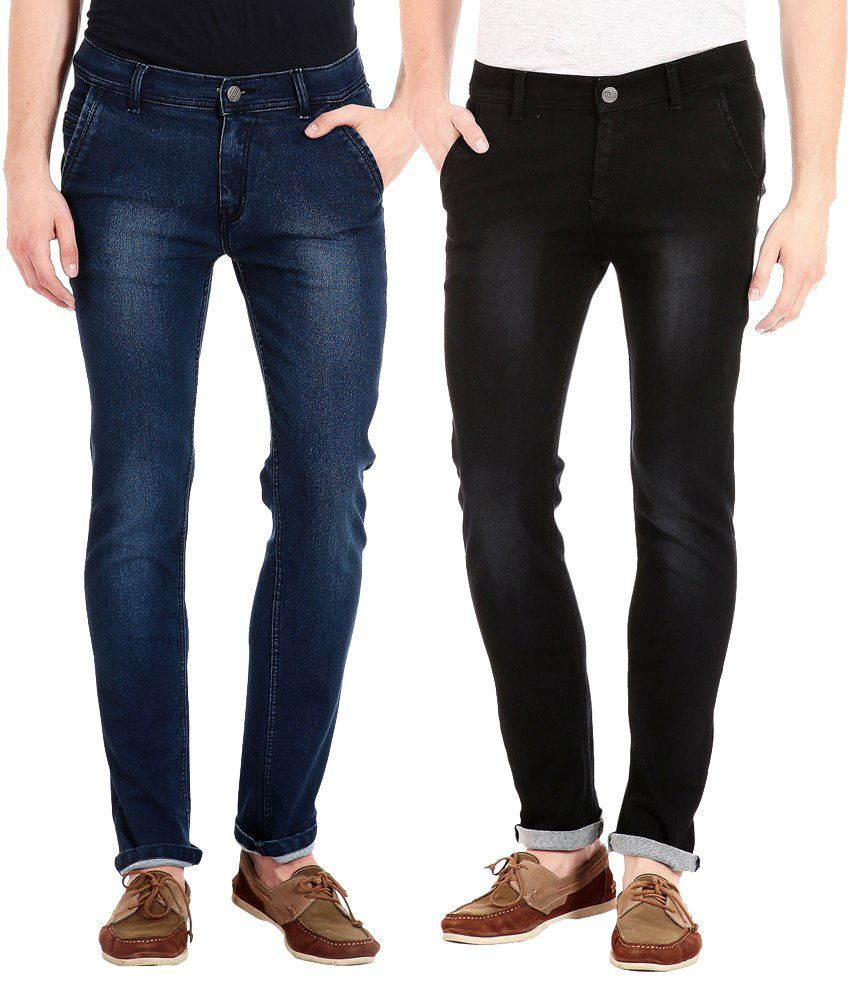 Flyjohn Black and Blue Slim Fit Jeans - Set of 2