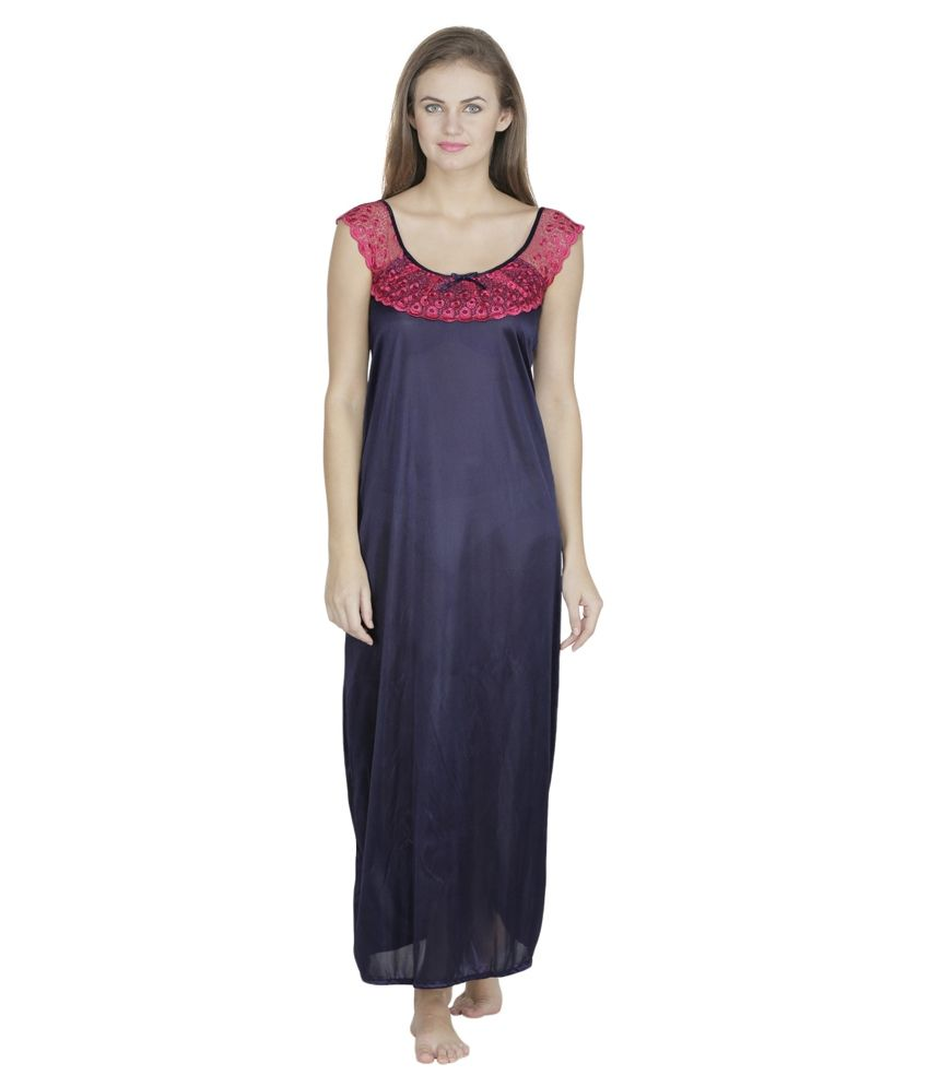 53cc1a8427 Klamotten Navy Satin Nighty available at SnapDeal for Rs.259