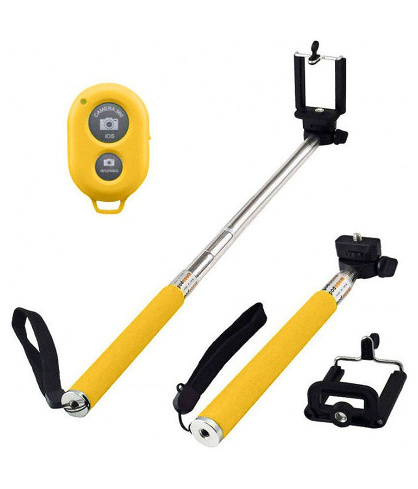 mussa monopod selfie stick with bluetooth yellow price in india buy mussa. Black Bedroom Furniture Sets. Home Design Ideas