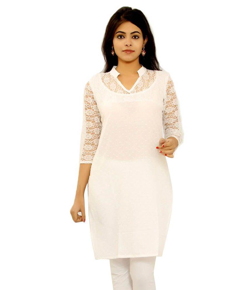 Vivah White Cotton Kurti