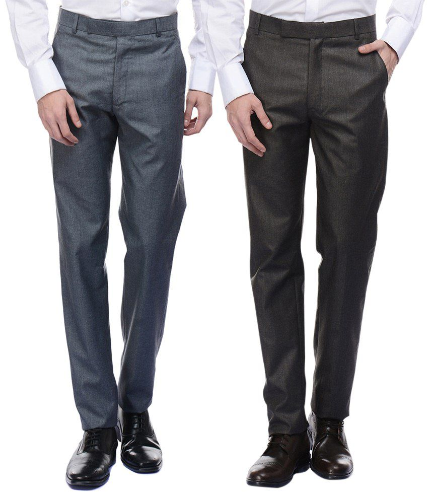 American-Elm Men's Basic Formal Trousers- Pack of 2