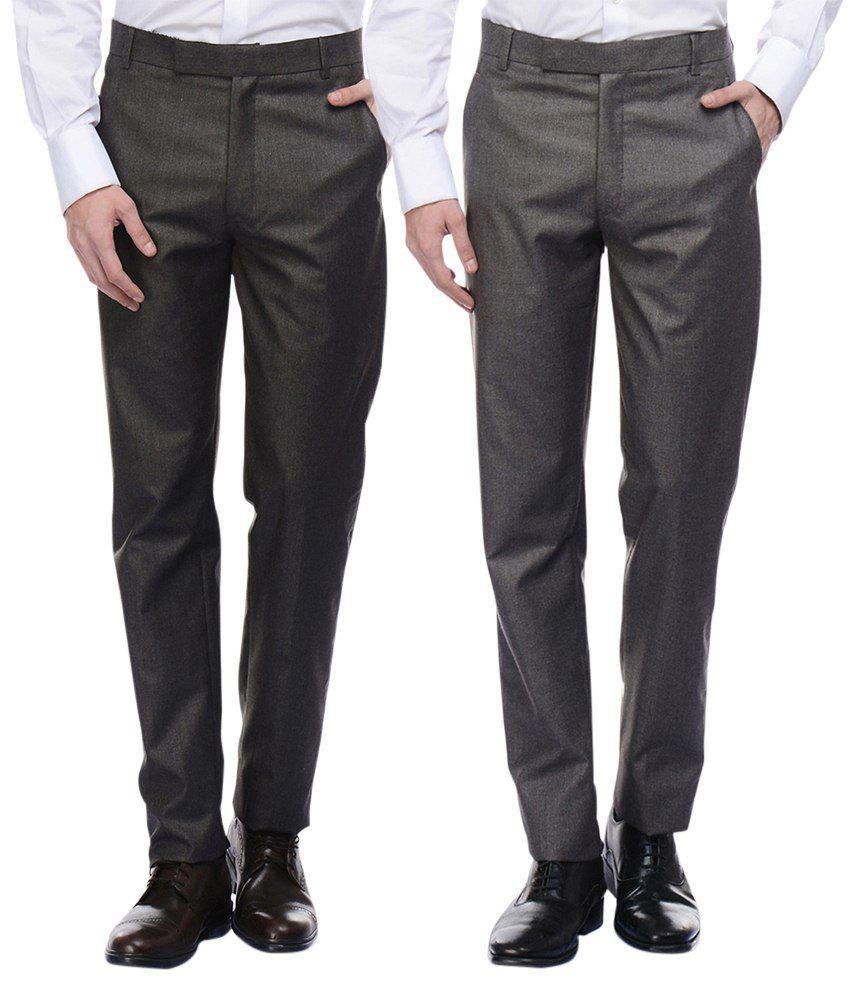American-Elm Men's Basic Formal Trousers- Pack of 2